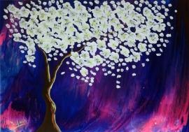 schilderij De witte boom in een roze en paarse storm, 100 x 70 cm