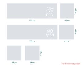 raamfolie op maat • Uilen en zonder motief • 6 stuks
