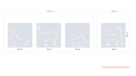 raamfolie op maat • Kattige tegels • 4 stuks