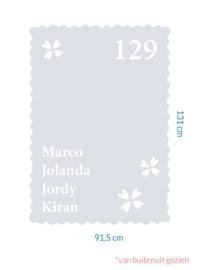 raamfolie op maat • Klavertje hartjes, huisnummer en namen