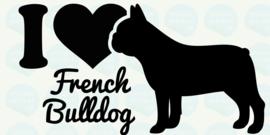 auto sticker • I love french bulldog