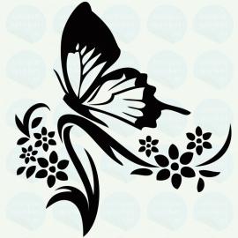 auto sticker • vlinder en bloemen