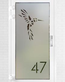 verticale statische raamfolie • Kolibrie met huisnummer