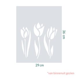 raamfolie op maat • Tulpen • 29 x 36 cm