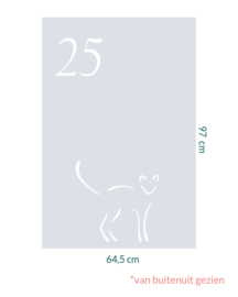 raamfolie op maat • Kattig met huisnummer • 64,5 x 97 cm
