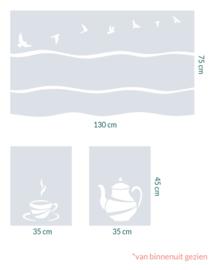 raamfolie op maat • Golven, Vogels en Coffee Time • 3 stuks