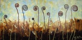 schilderij De gekke weide, 100 x 50 cm