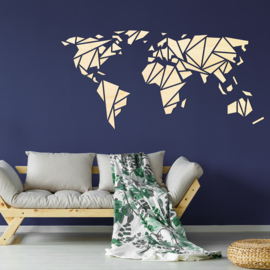 houten wanddecoratie • Origami Wereldkaart