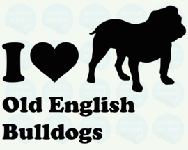 auto sticker • I love old english bulldogs