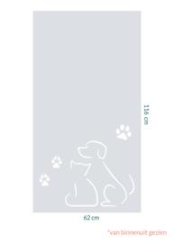 raamfolie op maat • Hond en kat • 62 x 116 cm