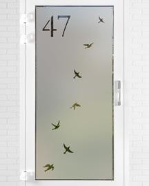 verticale statische raamfolie • Vrije vogels met huisnummer