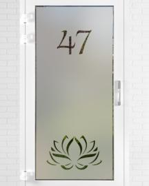 verticale statische raamfolie • Lotus met huisnummer