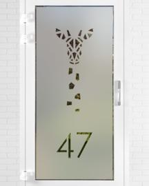verticale statische raamfolie • Giraffe met huisnummer