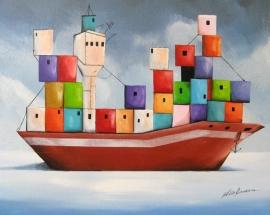 schilderij Het huiselijke containerschip, 50 x 40 cm
