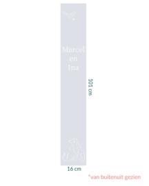 raamfolie op maat • Hond & Kat met namen  • 16 x 101 cm