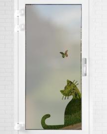 verticale statische raamfolie  •  Kat met vlinder