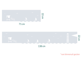 raamfolie op maat • Maritiem met een  lifeguard toren • 2 stuks