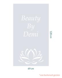 raamfolie om maat • Lotus met eigen tekst