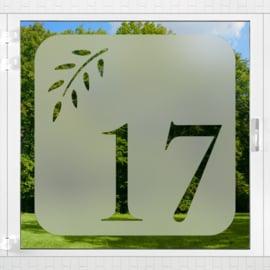 raamfolie tegel • Botanisch met huisnummer • 1