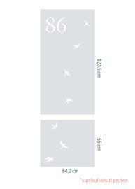 raamfolie op maat • Vrije vogels met huisnummer • 2 stuks