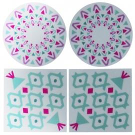 reflectie fiets en scooter stickers set - Aztec designs