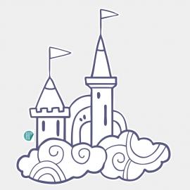 muursticker voor kinderen - sprookjesachtige kasteel