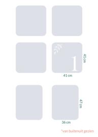 raamfolie tegels op maat • Botanisch • 6 stuks