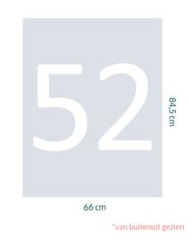 raamfolie op maat • Huisnummer 52 • 66 x 84,5 cm