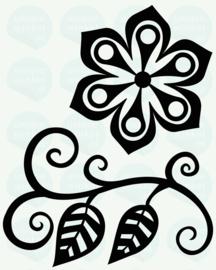 auto sticker • bloem met blaadjes