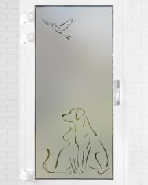verticale statische raamfolie  •  Hond & kat