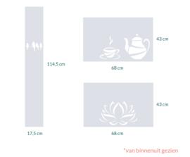 raamfolie op maat • Vogels op draad,  Coffie Time en Lotus