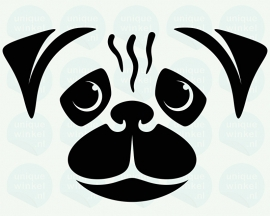 auto sticker • mops hond (pug dog)
