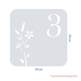 raamfolie tegel op maat • Botanisch 5 met huisnummer
