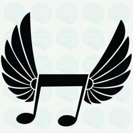 auto sticker • nota met vleugels
