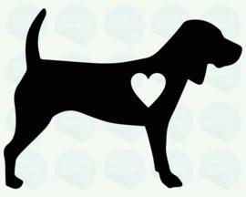auto sticker • beagle met hartjes