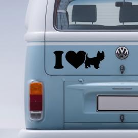 """auto sticker • I love """"westie"""" (west highland white terriër)"""
