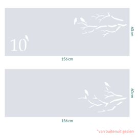 raamfolie op maat • Vogels op tak • 2 stuks 156 x 60 cm