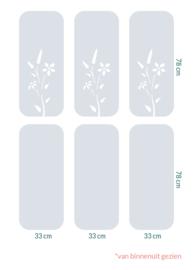 raamfolie tegels op maat • Botanisch • 6 stuks • 33 x 78 cm