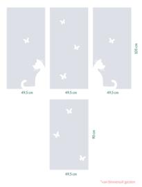 raamfolie op maat • Kat met vlinder • 4 stuks