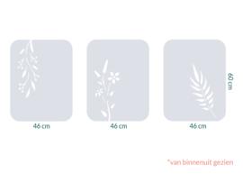 raamfolie tegels op maat • Botanisch • 3 stuks • 46 x 60 cm
