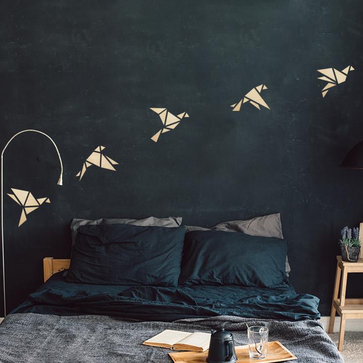 houten wanddecoratie • Origami Vogels