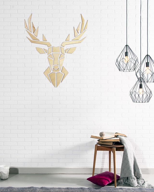 houten wanddecoratie • Origami Hert