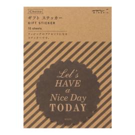 "Midori Gift Sticker - ""Nice Day"" Black"