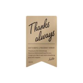 """Midori Gift Sticker - """"Thanks Always"""" Gold"""