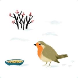 Illu-ster Kerstkaart Robin in the snow