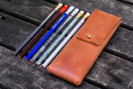 Galen Leather - Pencil Case for Blackwing pencils - Crazy Horse Tan