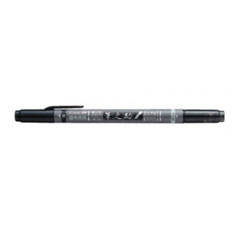 Tombow 2-color Brush Pen Fudenosuke Twin Twin tip, black and grey