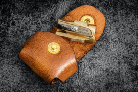 Galen Leather - Brass Pencil Sharpener - With Leather Case