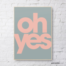 Gayle Mansfield print Oh yes (slate/pink)  - A4