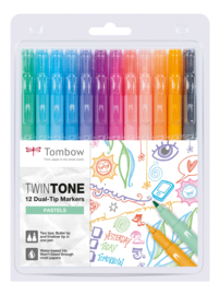 Tombow Marker TwinTone 12 pastels